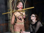 Dia Zerva busty bound in rope and made to cum by lezdom SisterDee