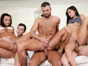 A game of Double Dare turns into a bisexual orgy