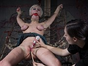 Cherry Torn busty blonde is rope bound toyed by lezdom Sister Dee