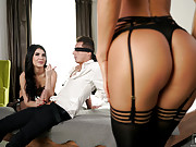 Two super hot girls surprises and pleasures a blindfolded guy