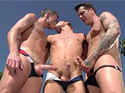 Gay guys making out in public, while wearing tiny speedo swimwear.