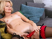 Diana Douglas in black stockings shows a hairy twat