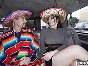 Horny girl gets tittybanged and facialized in a sleazy van