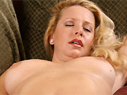 Busty milf blonde Jacy Andrews caresses a pussy