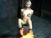 Sophie Ryan blonde bound and gagged for orgasm toying with fire