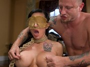 Teen blonde Betsey Kite getting fucked and jizzed by two masked guys