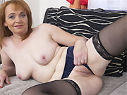 Busty milf Dava Foxx rides a hard wiener on the couch
