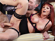Natalie Mars dominant ts in latex fucks in mouth and pussy sub