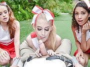 POV foursome fucking with kinky cheerleaders
