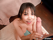 Puerto Rican hottie with a fabulous rack jerks a cock for jizz