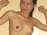 Filipina girl friend shows off skinny and fit nude body