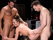 Two hotties take turns getting pounded by a hung dude in the livingroom