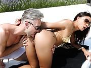 Cutie gets all pleasure holes gangbanged by three men