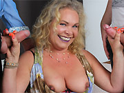 Horny milf blonde in stockings services two guys in DP
