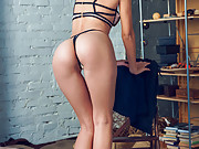 Ukrainian goddess strips off her sexy lingerie and poses nude