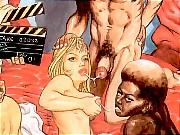 Hot blonde and ebony girl are fucking hard on casting