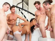 Nia Nacci busty brunette in stockings is double fucked gangbanged