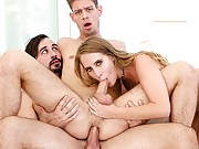 Cadence Lux blonde with husband sharing cock in bisexual trio