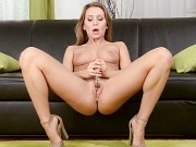 Whitney Conroy athletic blonde babe glass toys her shaved pussy