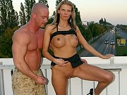 Busty blonde Lulu Lustern fucked outdoors on a bridge above highway