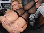Milf secretary Blaten Lee in black stockings strips at office