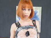 Alexa Nova fiery redhead floral dress & lingerie strip-tease in bedroom
