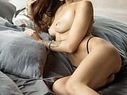 Brunette goddess shows off her amazing nude body