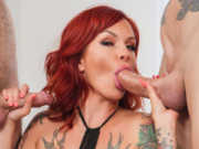 Tattooed Redhead Anya Gold Gets Two Hard Cocks