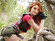 Beautiful young redhead gets drilled in the forest