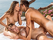 Two hotties share a cock on their last day on holiday
