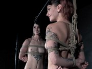 Ava Damore and Lydia Black dungeon rope bound by dominant couple