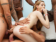 Horny chick gets all fun holes rammed by four hung studs