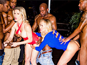 Horny milfs in a fuck fest extravaganza with four black men