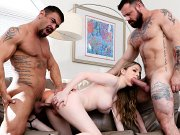 Bunny Colby busty blonde is fucked in bisexual trio by two guys