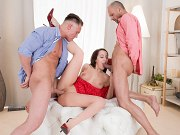 Natali Ruby in red lace dress double fucked in trio with two guys