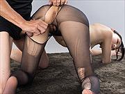 Rio Kamimoto cock rub in ripped pantyhose