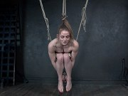 Cora Moth busty tattoo blonde rope bound and clamped in dungeon