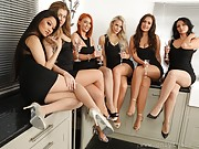 Six hot girls celebrate New Years in pantyhose and thongs