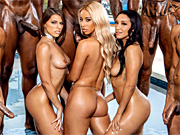 Vicki Chase and her two girlfriends in an interracial orgy