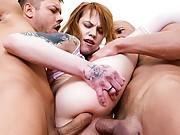 Mary Solaris is double big cock fucked in hardcore threesome