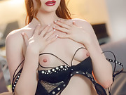 Ella Hughes is Naughty in Black, British and Studs While She Cums