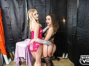Two hot young chicks in lingerie have fun with a POV boner
