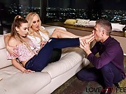 Brandi Love and Naomi Swan give a guy a footjob and fuck him hard