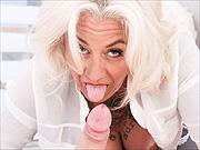 Mature blonde lady sucks stud dick