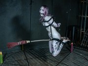 Rose Quartz witch bound on a broom pussy exposed and ass spanked