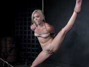 Katie Kush natural tits blonde is bound in rope her pussy toyed