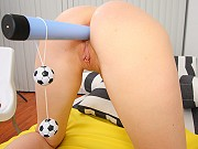 Blonde teen Gianna gets her tight ass stretched with toys and dicked