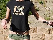 Teen flasher Tiffany Thompsons outdoor voyeur and public teasing babe