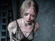 Alice in Dallas black stockings blonde bound in rope and exposed