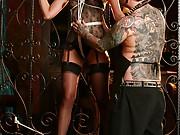 Tattooed submissive milf Lexi Bardots bondage blowjob and kinky hardcore